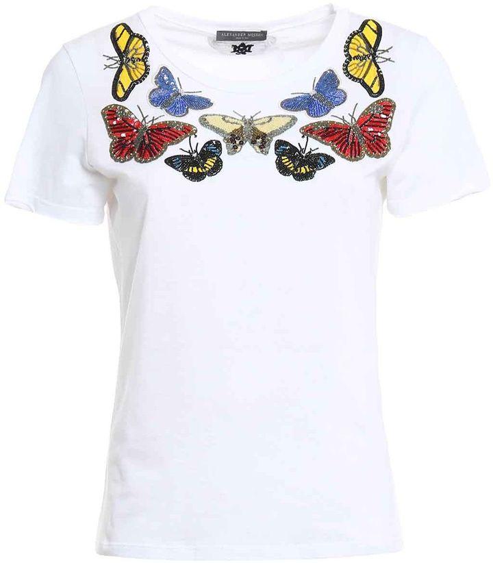 Alexander McQueenAlexander Mcqueen Beaded Bitterflies T-shirt