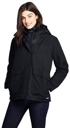 Lands' End Black Petite Squall Hooded Insulated Jacket