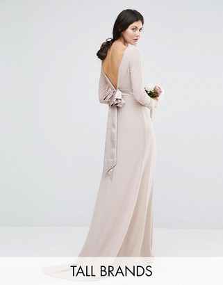 TFNC Tall Wedding Bow Back Maxi Dress with Long Sleeves $83 thestylecure.com