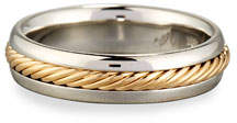 Gents Eli Braided Platinum & 18K Gold Wedding Band Ring, Size 10