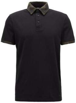 BOSS Hugo Relaxed-fit cotton polo shirt contrast fabric detailing M Black