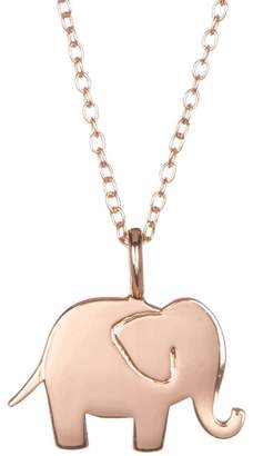 LA Rocks Flash Rose Gold Plated Elephant Pendant Necklace