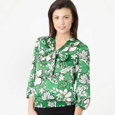 Green floral pussy bow top