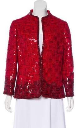 Oscar de la Renta Sequined Long Sleeve Jacket