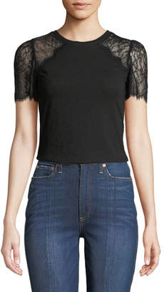 Rebecca Taylor Lace-Sleeve Crewneck Jersey Tee