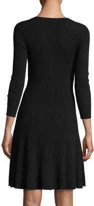 Neiman Marcus Ribbed Fit-&-Flare Cashmere Sweaterdress