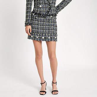 River Island Blue tweed embellished button mini skirt