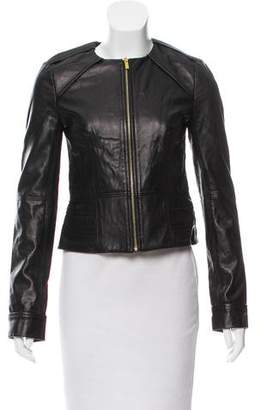 Diane von Furstenberg Collarless Leather Jacket