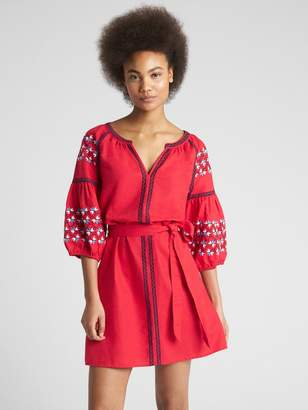 Gap Embroidered Balloon Sleeve Tie-Belt Dress in Linen-Cotton