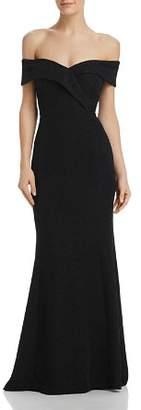 Eliza J Shimmering Off-the-Shoulder Gown