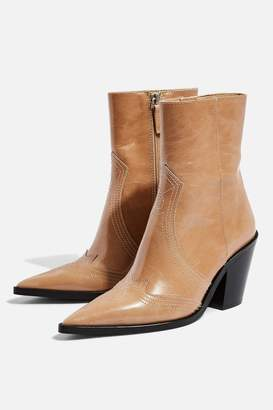 Topshop Womens Harlem Taupe Western Boots - Taupe