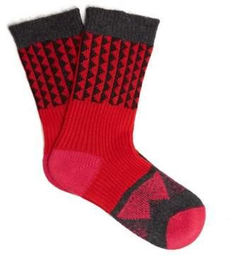 Burberry Triangle Jacquard Knit Socks - Womens - Red Multi