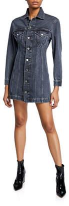 Helmut Lang Femme Button-Front Long-Sleeve Mini Denim Dress