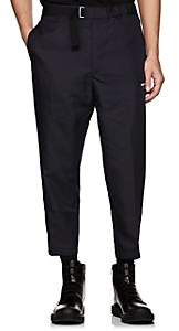 Oamc Men's Checked Wool Crop Trousers - Navy