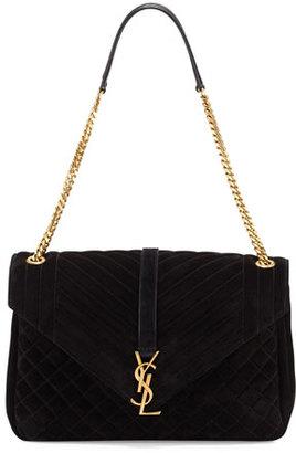 Saint Laurent Monogram Large Mixed-Matelassé Suede Envelope Satchel Bag, Black $2,490 thestylecure.com