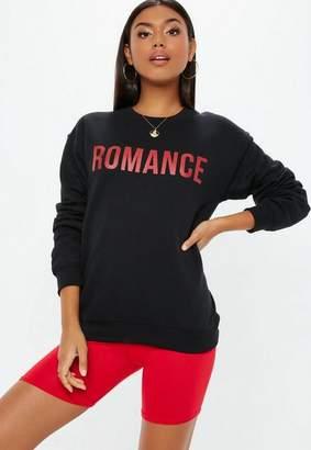 Missguided Black Romance Graphic Sweatshirt