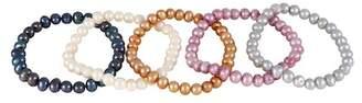 Splendid Pearls Elasticized 6-7mm Freshwater Pearl Beaded Bracelets - Set of 5