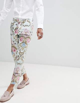 Asos Edition EDITION wedding skinny crop suit pants in pastel floral jacquard