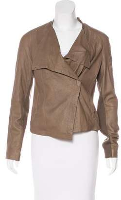 Vince Wool-Trimmed Leather Jacket