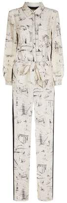 Burberry Silk Landmark Print Jumpsuit