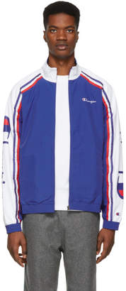 Champion Reverse Weave Blue and White Striped Zip Track Jacket