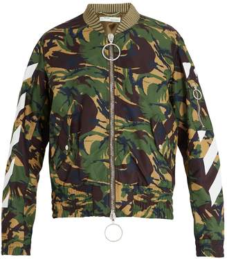 Off-White Logo and camouflage-print shell bomber jacket