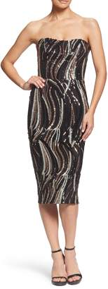 Dress the Population Claire Swirl Stripe Strapless Body-Con Dress