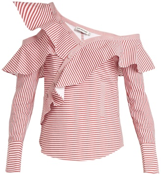 SELF-PORTRAIT One-shoulder striped cotton shirt