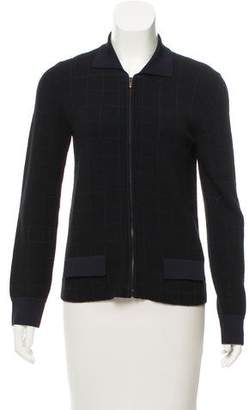 Armani Collezioni Wool-Blend Zip Front Cardigan