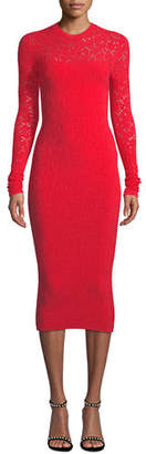 Versace Crewneck Long-Sleeve Tattoo-Knit Body-Con Dress