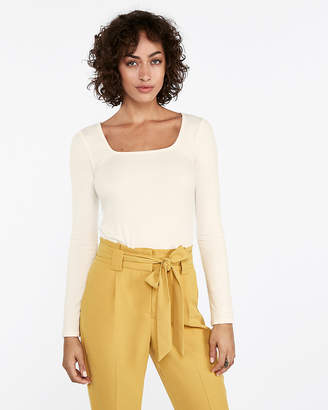 Express Square Neck Ribbed Long Sleeve Tee