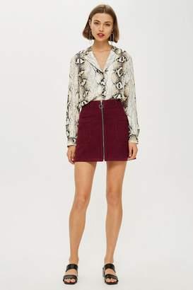 Topshop Burgundy Corduroy Zip Up Skirt