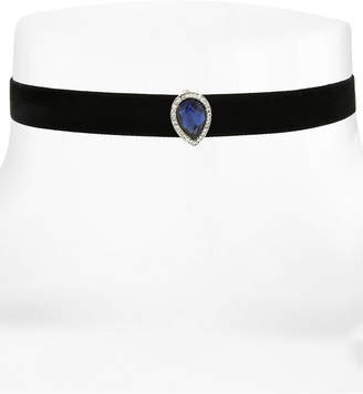 2028 Silver-Tone Stone & Pave Black Velvet Choker Necklace