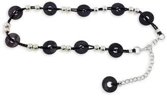 Fashion Focus Braided Silvertone Wood Station Bracelet