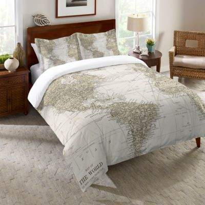 Laural Home Get Out and See the World Reversible Twin Comforter in Beige