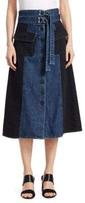 Sea Two-Tone Denim A-Line Skirt