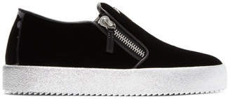 Giuseppe Zanotti Black Velvet May London Slip-On Sneakers