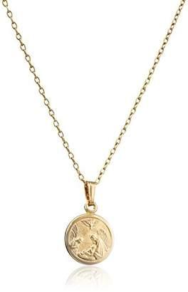 Children's 14k -Filled Round Guardian Angel Pendant Necklace
