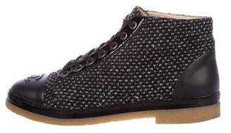 Chanel Tweed Lace-Up Sneakers