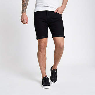 River Island Lee black rolled hem denim shorts