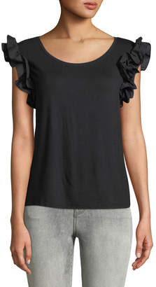 London Times Scoop-Neck Ruffle-Sleeve Tee