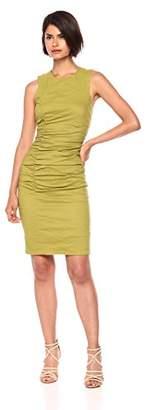 Nicole Miller Women's Solid Cotton Metal Tuck Dress