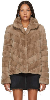 Yves Salomon Pink Quilted Fur Jacket