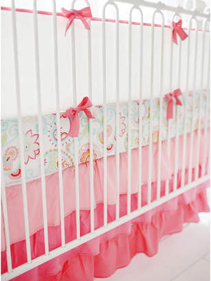My Baby Sam Coral and White Crib Bumper Bedding