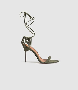 Reiss ZHANE SUEDE STRAPPY WRAP SANDALS Olive