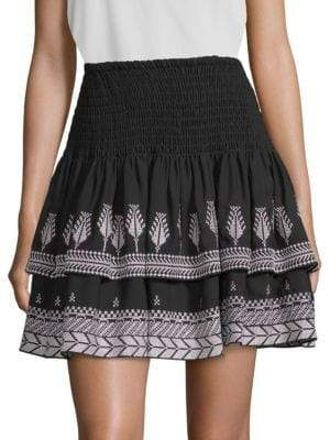 Kobi Halperin Geonna Feather Embroidery Silk Mini Skirt