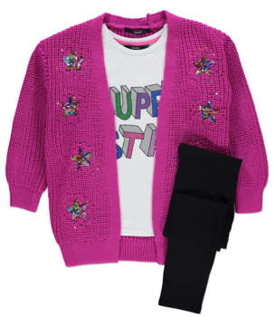 George Purple Cardigan, Top and Leggings Outfit
