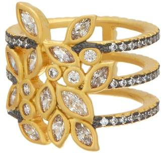 Freida Rothman 14K Gold & Rhodium Plated Sterling Silver CZ Fleur Bloom Open Leaf Triple Band Ring - Size 6