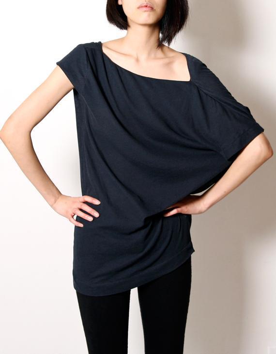 Kaylee Tankus Navy Asymmetrical Shoulder Tee