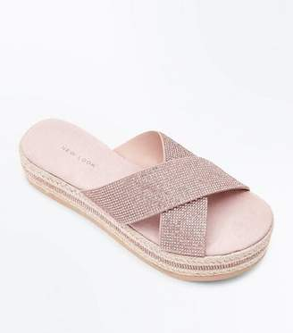 New Look Rose Gold Diamante Strap Espadrille Flatform Sliders